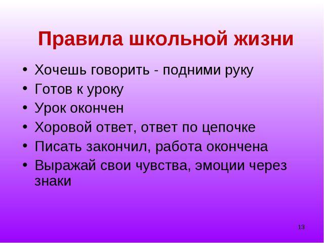 * Правила школьной жизни Хочешь говорить - подними руку Готов к уроку Урок ок...