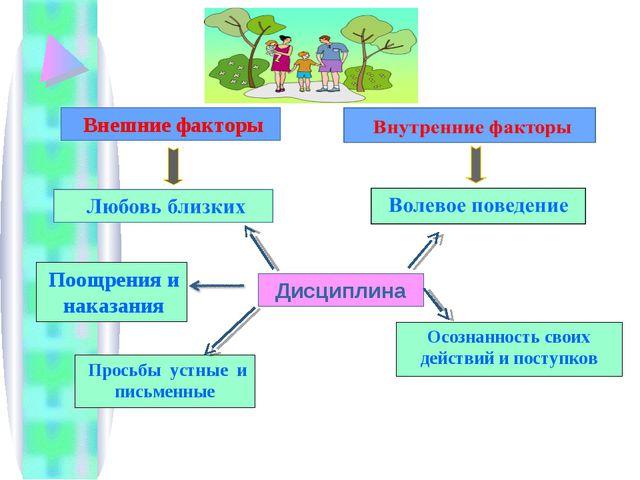Дисциплина Внешние факторы Поощрения и наказания Осознанность своих действий...