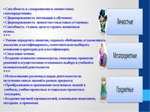 • Cпособность к саморазвитию и личностному самоопределению; • Сформированнос