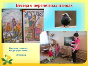 Беседа о перелетных птицах На шесте - дворец, Во дворце - певец. (Скворец)