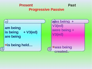 Present Past Progressive Passive was being + V3(ed) were being + V3(ed) was