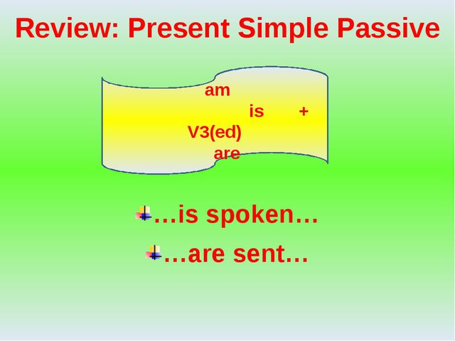 Review: Present Simple Passive …is spoken… …are sent… am is + V3(ed) are