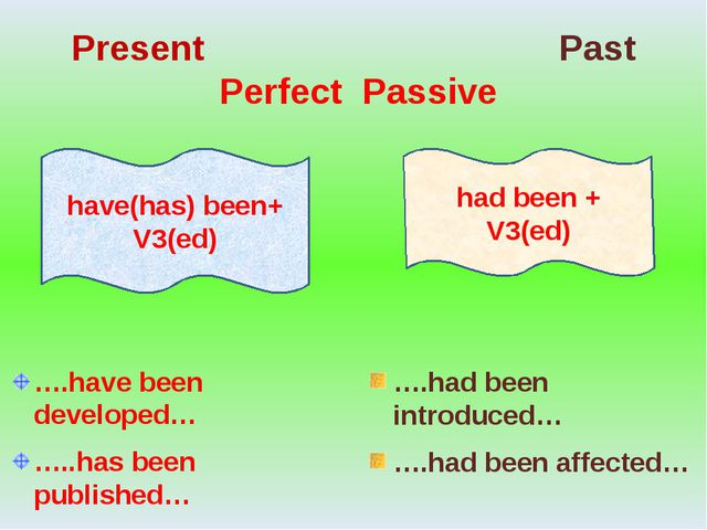 Present Past Perfect Passive ….have been developed… …..has been published… …....