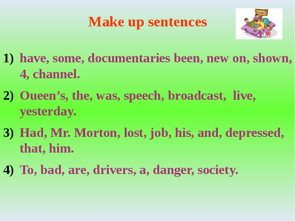 Make up sentences have, some, documentaries been, new on, shown, 4, channel....