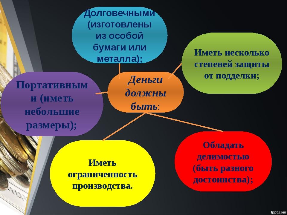 Деньги должны быть: Долговечными (изготовлены из особой бумаги или металла);...