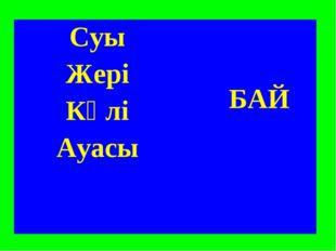 Суы БАЙ Жері Көлі Ауасы