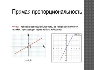 Прямая пропорциональность y = kx - прямая пропорциональность, её графиком явл