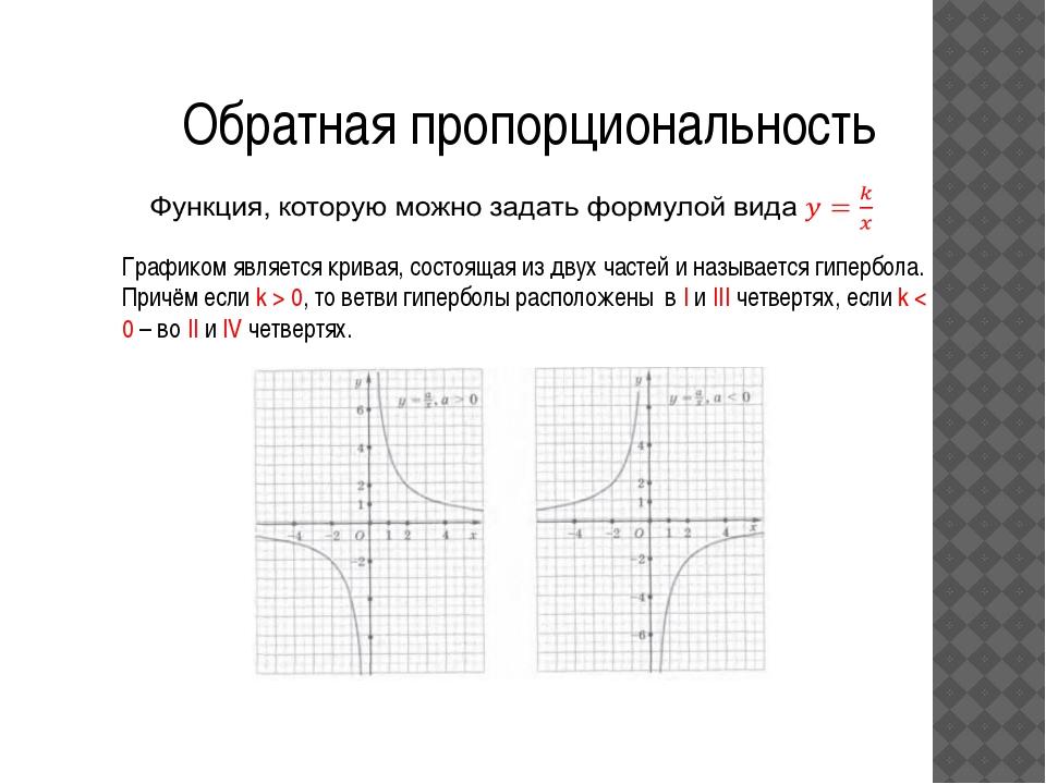 Обратная пропорциональность Графиком является кривая, состоящая из двух часте...