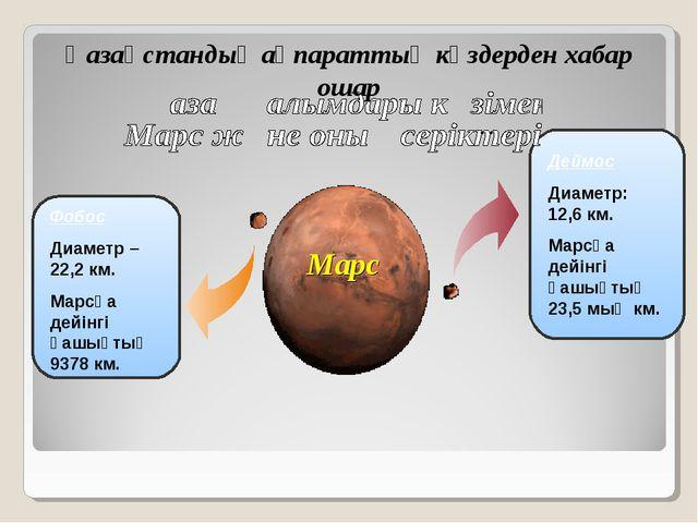 Марс Фобос Диаметр – 22,2 км. Марсқа дейінгі қашықтық 9378 км. Деймос Диаметр...