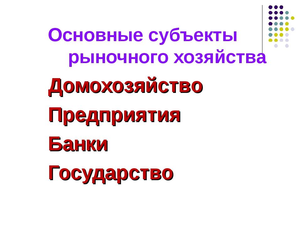 Основные субъекты рыночного хозяйства Домохозяйство Предприятия Банки Госуда...