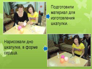 Подготовили материал для изготовления шкатулки. Нарисовали дно шкатулке, в фо