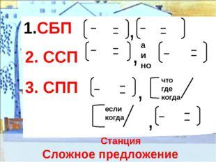 Станция Сложное предложение СБП , 2. ССП , а и но 3. СПП , что где когда есл