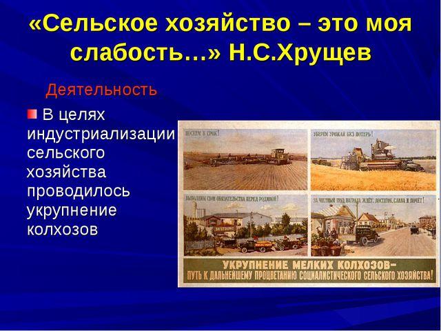 «Сельское хозяйство – это моя слабость…» Н.С.Хрущев Деятельность В целях инду...