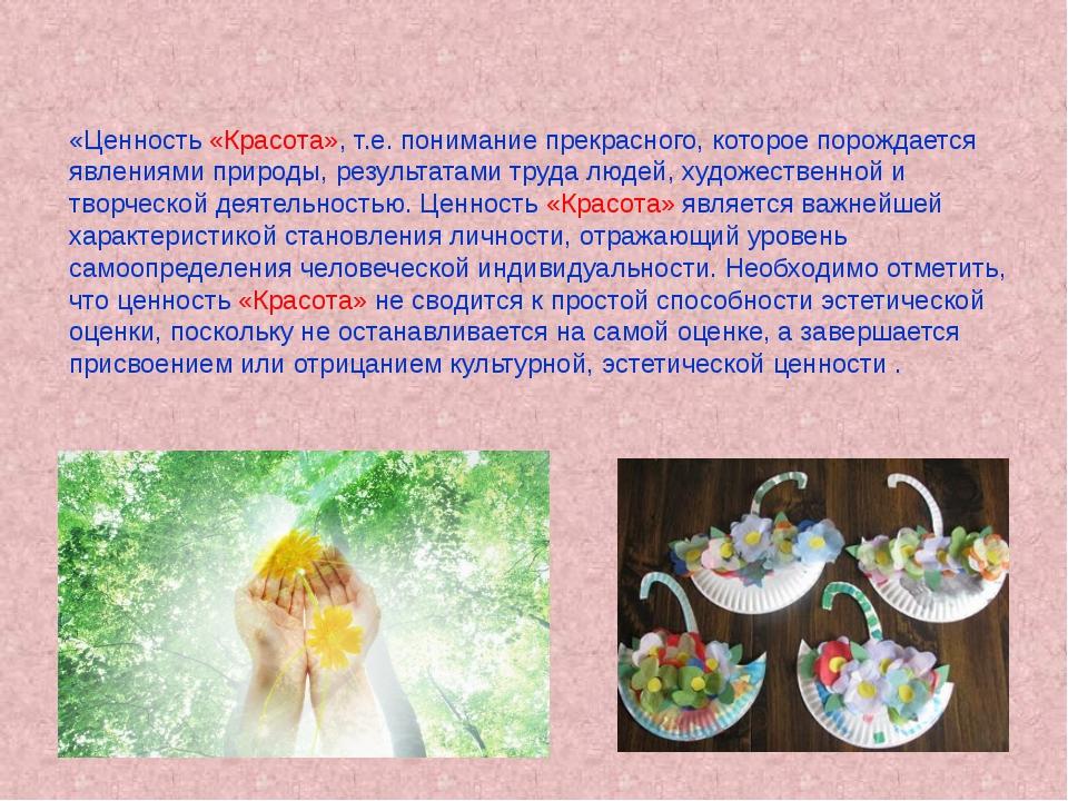 «Ценность «Красота», т.е. понимание прекрасного, которое порождается явлениям...