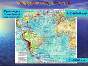 Географическое положение S=93360000 км2 L=15000 км Гренландия Самый большой о