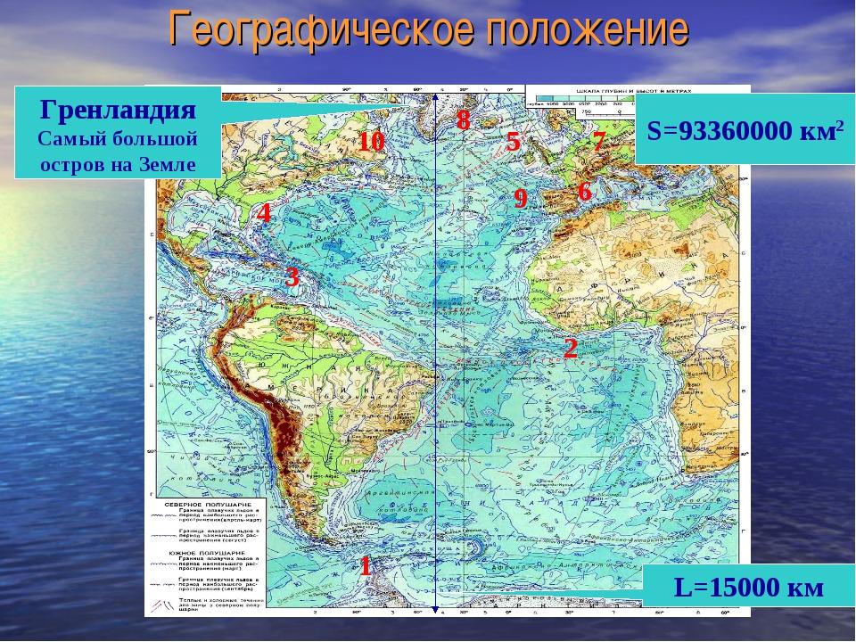 Географическое положение S=93360000 км2 L=15000 км Гренландия Самый большой о...