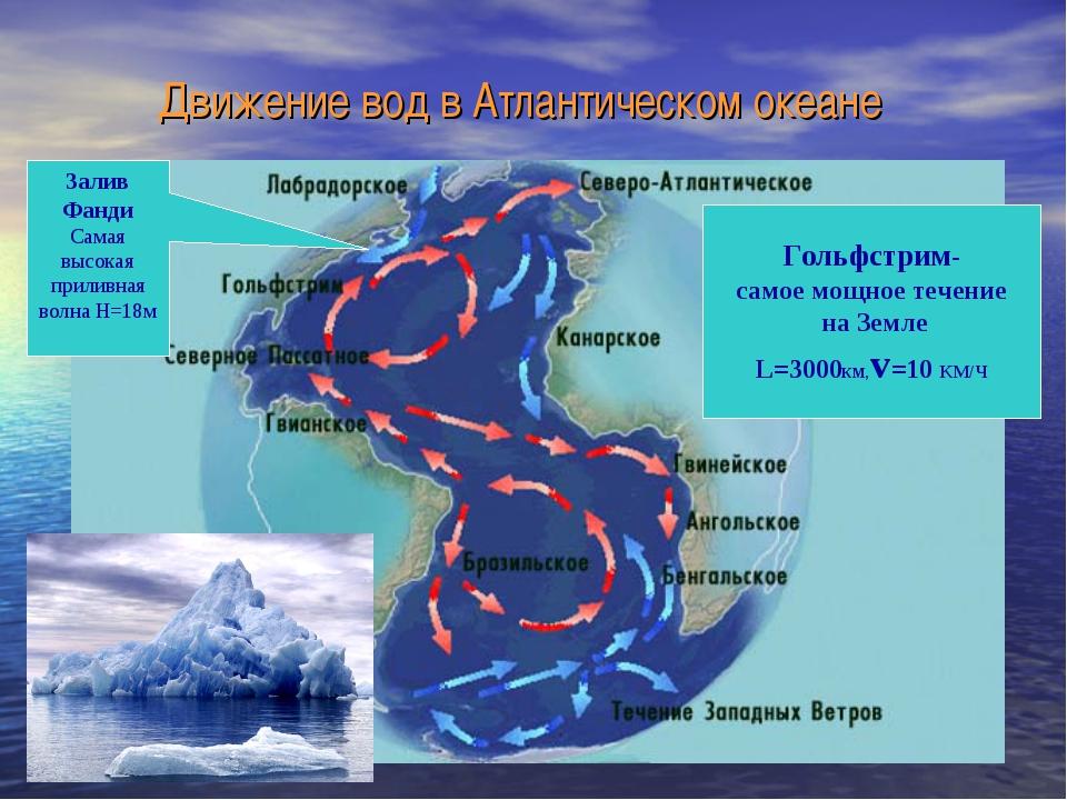 Движение вод в Атлантическом океане Гольфстрим- самое мощное течение на Земле...