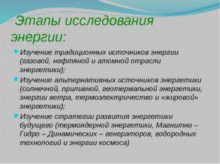 Этапы исследования энергии: Изучение традиционных источников энергии (газово