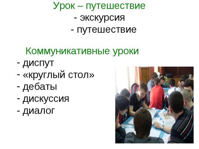 Урок – путешествие - экскурсия - путешествие Коммуникативные уроки диспут «кр...