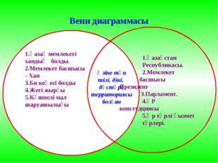 Венн диаграммасы 1.Қазақ мемлекеті хандық болды. 2.Мемлекет басшысы - Хан 3.Б