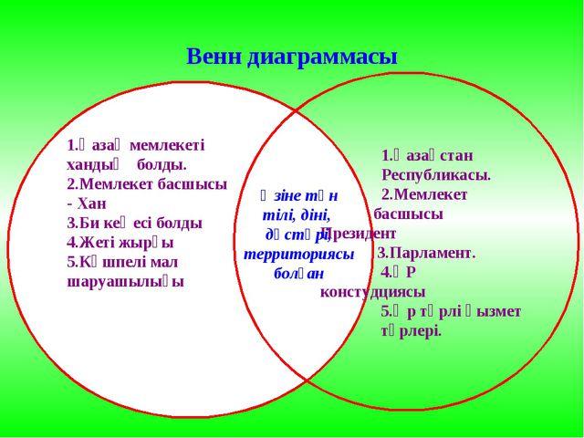 Венн диаграммасы 1.Қазақ мемлекеті хандық болды. 2.Мемлекет басшысы - Хан 3.Б...