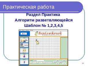Практическая работа Раздел Практика Алгоритм разветвляющейся Шаблон № 1,2,3,4
