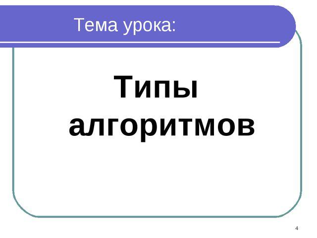 Тема урока: Типы алгоритмов *