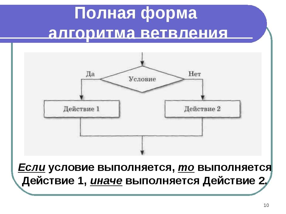 Если условие выполняется, то выполняется Действие 1, иначе выполняется Действ...
