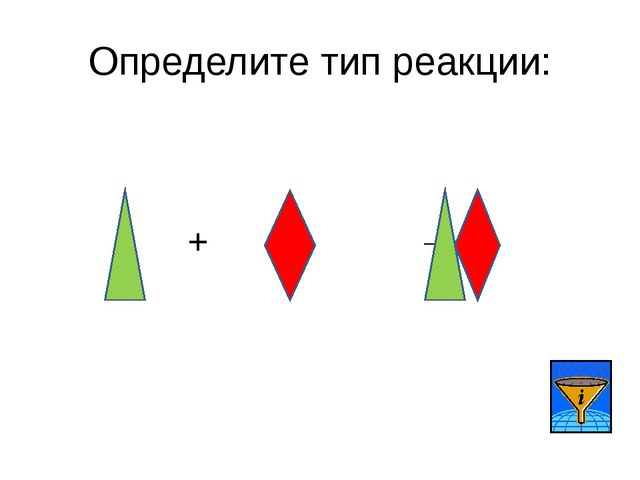 Определите тип реакции: + →