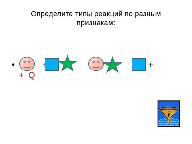 Определите типы реакций по разным признакам: + → + + Q