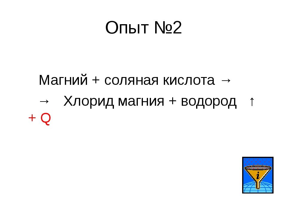 Опыт №2 Магний + соляная кислота → → Хлорид магния + водород ↑ + Q