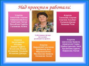 Над проектом работали: Хуббутдинова Дилара Дугласовна- руководитель проекта 5