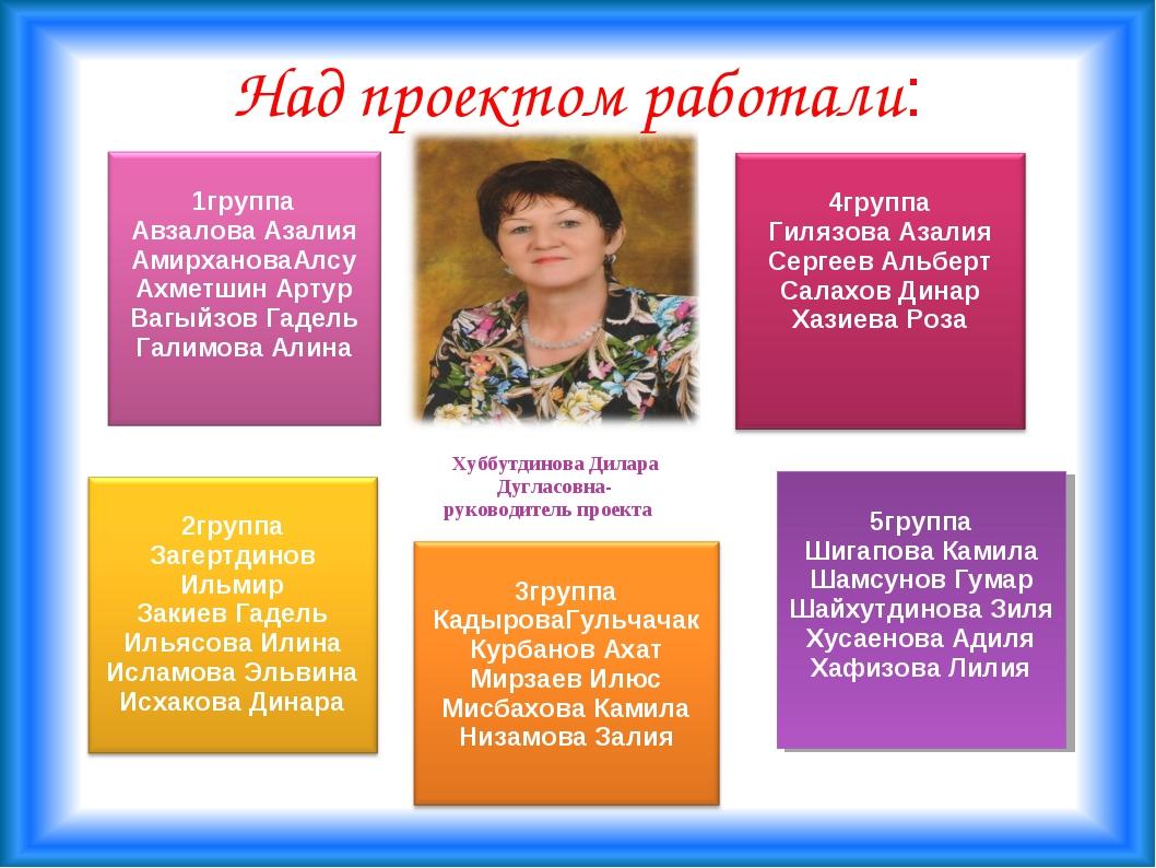 Над проектом работали: Хуббутдинова Дилара Дугласовна- руководитель проекта 5...