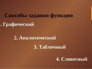 Способы задания функции 1. Графический 2. Аналитический 3. Табличный 4. Слове