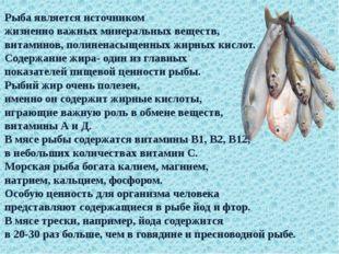 Рыба является источником жизненно важных минеральных веществ, витаминов, поли