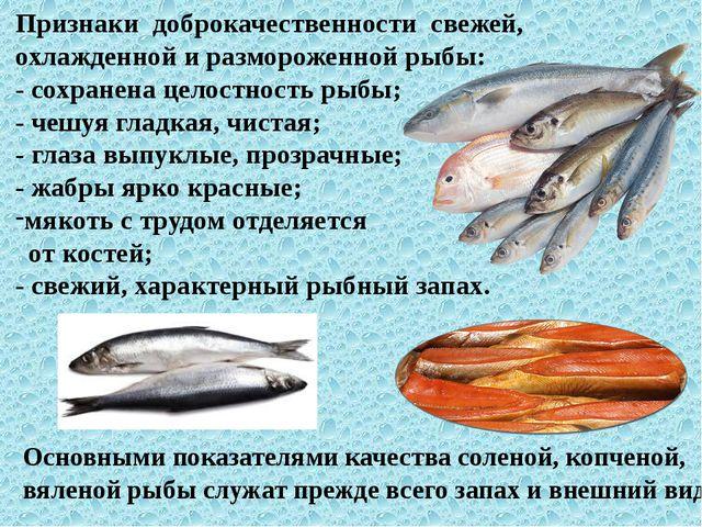 Признаки доброкачественности свежей, охлажденной и размороженной рыбы: - сохр...