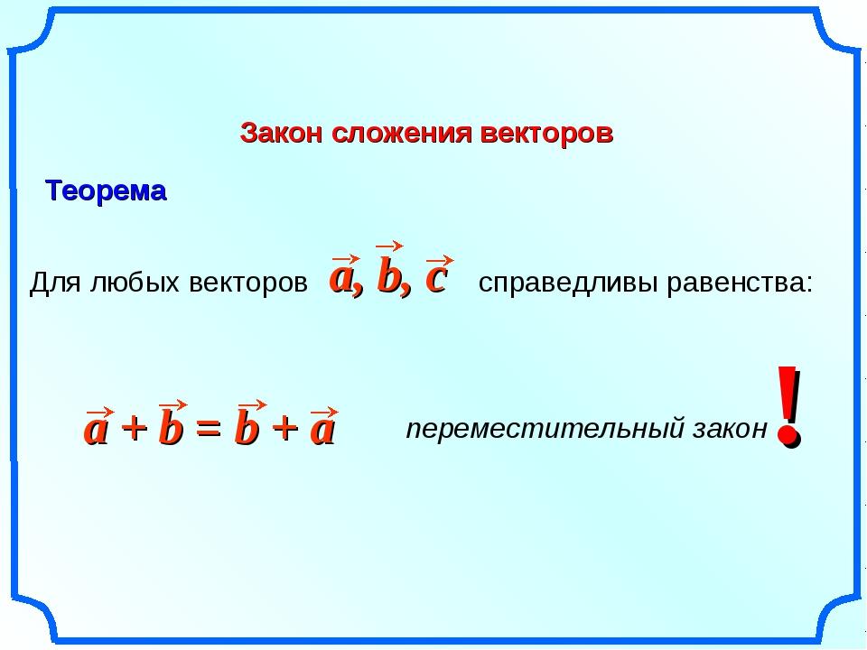 Закон сложения векторов Для любых векторов справедливы равенства: ! Теорема