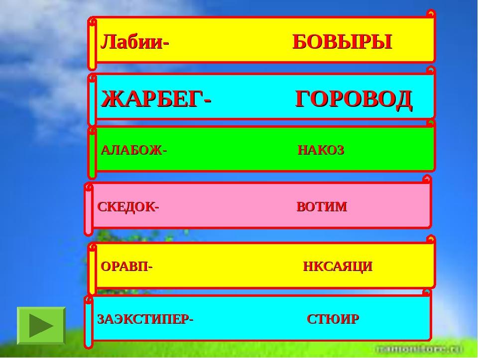 Лабии- БОВЫРЫ ЖАРБЕГ- ГОРОВОД АЛАБОЖ- НАКОЗ СКЕДОК- ВОТИМ ОРАВП- НКСАЯЦИ ЗАЭК...