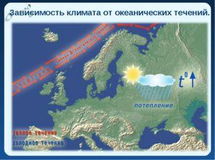 Зависимость климата от океанических течений.