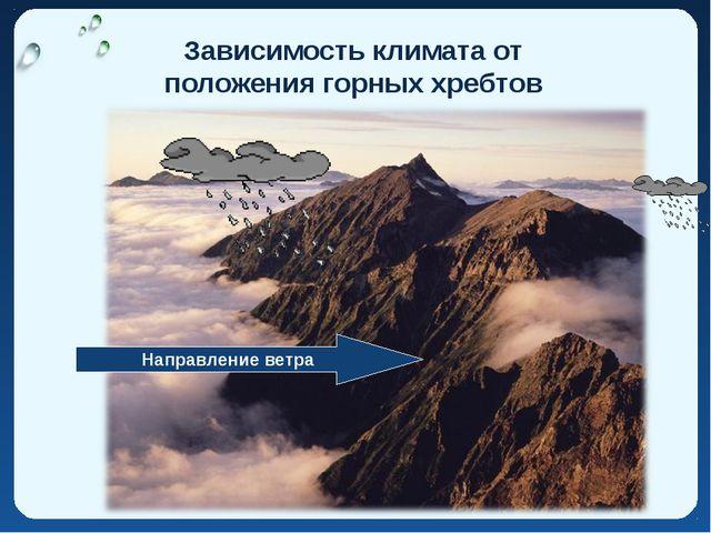 Зависимость климата от положения горных хребтов Направление ветра