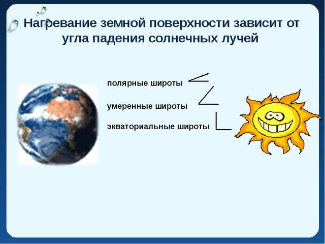 Нагревание земной поверхности зависит от угла падения солнечных лучей эквато...