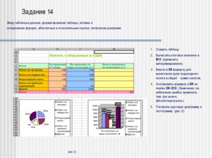 Задание 18 Ввод и копирование формул, вычисление значений функции на заданном
