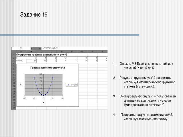 В ячейках электронной таблицы Excel А1:А5 находятся значения аргумента х. В...