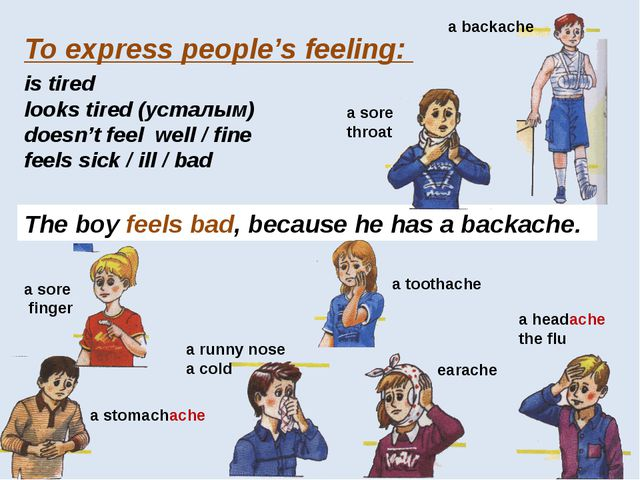 To express people's feeling: is tired looks tired (усталым) doesn't feel well...