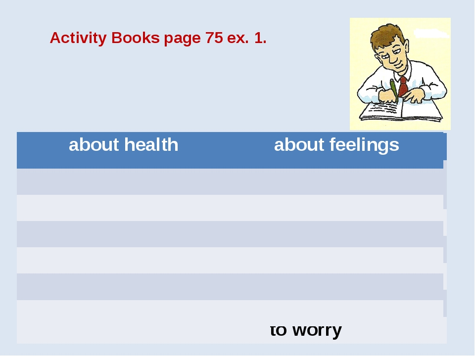 Activity Books page 75 ex. 1. about health about feelings to have a stomachac...
