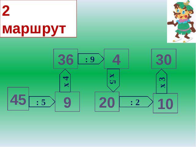 х 4 45 9 36 4 20 30 10 : 5 : 9 : 2 х 3 х 5 2 маршрут