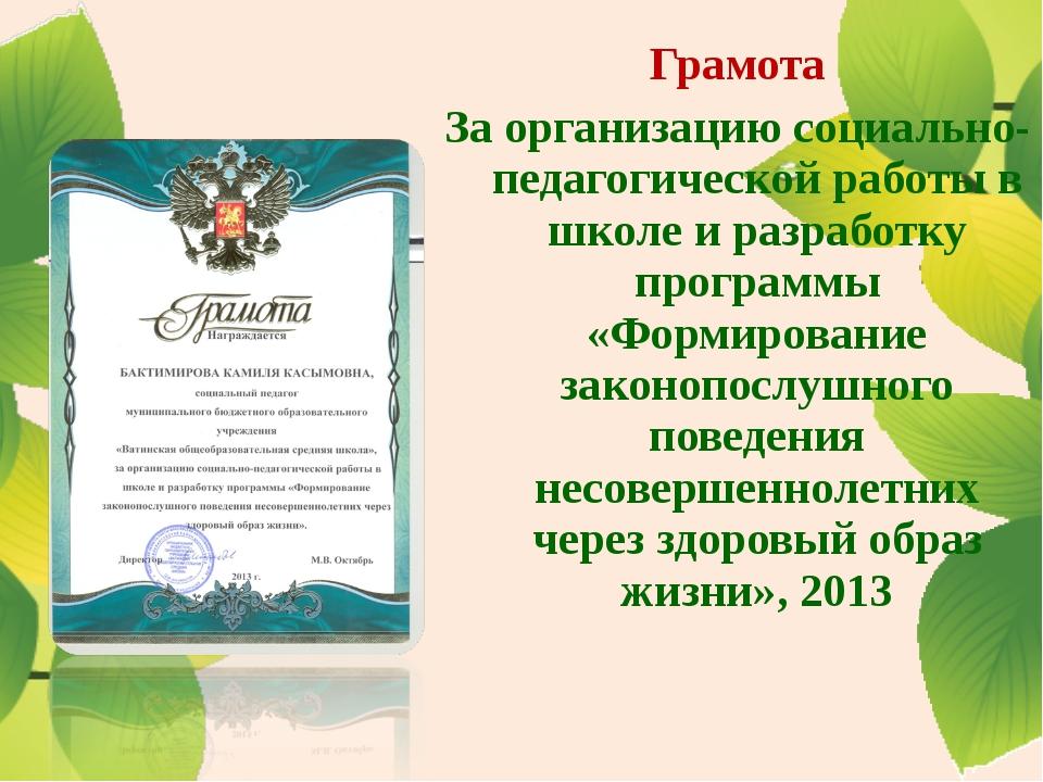Грамота За организацию социально-педагогической работы в школе и разработку п...