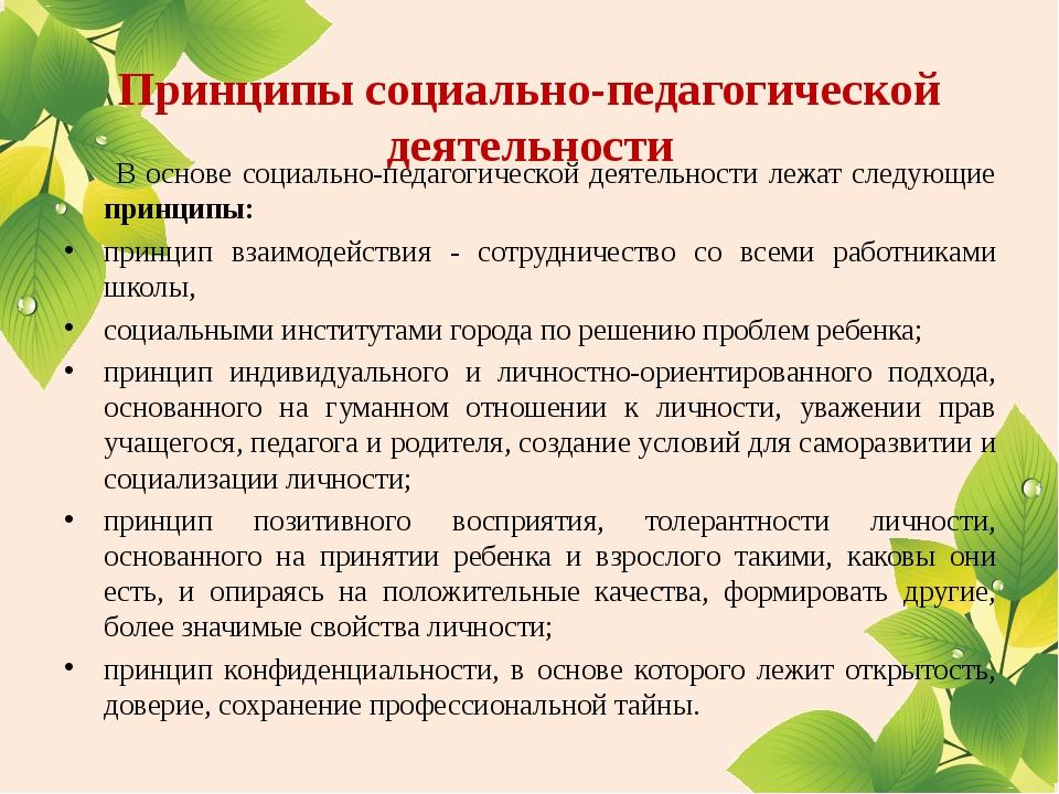 Принципы социально-педагогической деятельности В основе социально-педагогиче...