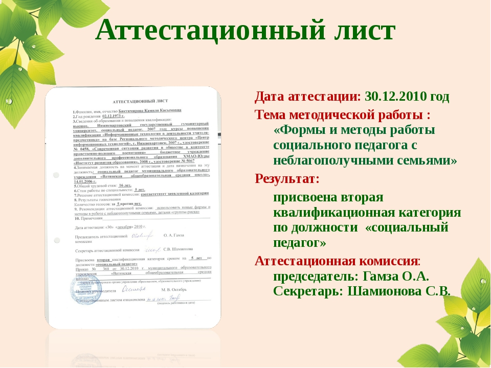 Аттестационный лист Дата аттестации: 30.12.2010 год Тема методической работы...
