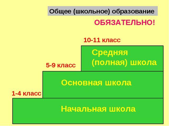 Общее (школьное) образование Начальная школа Средняя (полная) школа Основная...